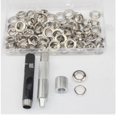 Набор для установки люверсов 12 мм + 100 люверсов серебро