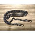 Цепочка-ручка для сумки клатча 120 см 10мм цвет черный с карабинами