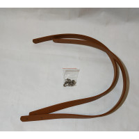 Ручка для сумки 60см*1.8см светло коричневая PU с двумя дырочками и заклепками.