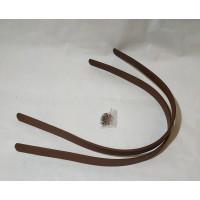 Ручка для сумки 60см*1.8см коричневая PU с двумя дырочками и заклепками.