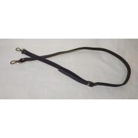 Ручка для сумки 110см*1.8см PU черная  с металическим  карабином цвет серебро