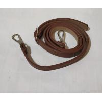 Ручка для сумки 110см*1.8см PU темно коричневая  с металическим  карабином цвет серебро