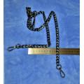 Цепочка-ручка для сумки  120 см 12мм цвет черный с карабинами вес 76 грамм