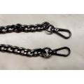 Цепочка-ручка для сумки  120 см звено 11*15мм цвет черный с карабинами вес 200гр.
