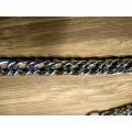 Цепочка-ручка для сумки клатча 120 см 10мм цвет серебро с карабинами